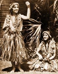 Hula dancers with lei