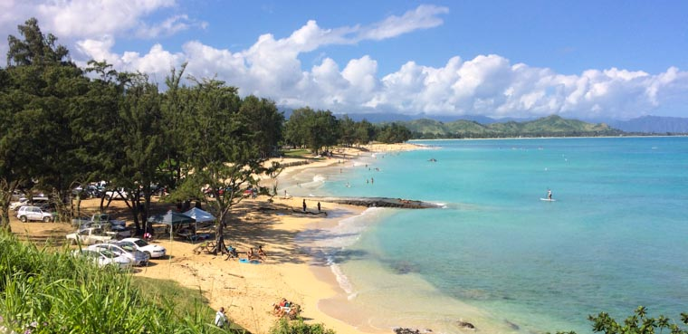 Beautiful Kailua Beach - great for walking, swimming and kayaking.