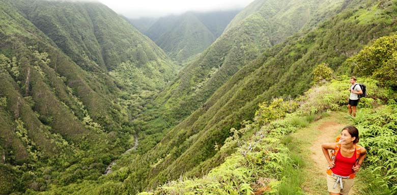Hiking Hawaii's beautiful mountains.